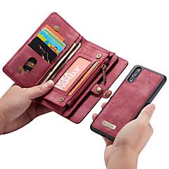 お買い得  Huawei Pシリーズケース/ カバー-huawei p20 pro / p20ライトウォレット/カードホルダー/フリップフルボディケース用のカセムケースhuawei p20 / huawei p20 pro / huawei p20 lite用ソリッドカラーハードpuレザー