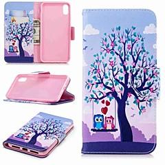 Недорогие Кейсы для iPhone 6-Кейс для Назначение Apple iPhone XR / iPhone XS Max Кошелек / Бумажник для карт / со стендом Чехол Сова Твердый Кожа PU для iPhone XS / iPhone XR / iPhone X