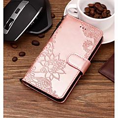 Недорогие Чехлы и кейсы для LG-Кейс для Назначение LG V30 / Q6 Бумажник для карт / Рельефный / С узором Чехол Цветы Твердый Кожа PU для LG V35 / LG V30 / LG Q7