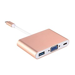 abordables Cables y Adaptadores para Teléfono-Tipo C Adaptador de cable USB 1 a 3 Adaptador Para Macbook / Samsung / Lenovo 10.3 cm Para Aluminio