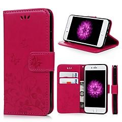 Недорогие Кейсы для iPhone-Кейс для Назначение Apple iPhone 7 Бумажник для карт / со стендом / Флип Чехол Бабочка / Цветы Твердый Кожа PU для iPhone 7