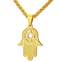 Недорогие Ожерелья-Муж. Ожерелья с подвесками - Нержавеющая сталь руки Мода Золотой, Серебряный 55 cm Ожерелье Бижутерия 1шт Назначение Подарок, Повседневные