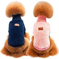 cheap Dog Supplies-Dogs / Cats Sweatshirt Dog Clothes Solid Colored Blue / Pink / Khaki 100% Coral Fleece / Cotton Costume For Pets Unisex Sports & Outdoors / Casual / Daily