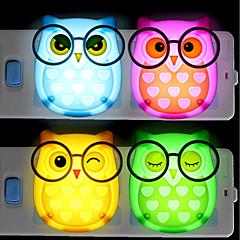 お買い得  LED アイデアライト-BRELONG® 1個 ふくろう LEDナイトライト レッド / ブルー / イエロー AC電源 カートゥン / ライトコントロール / ベッドサイド 85-265 V