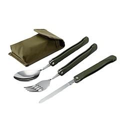 abordables Cocina de Camping-3 juegos Trinchador para camping Cuchara para camping Ligero Doblez Acero Inoxidable 430 Al aire libre para Camping Militar Viaje Verde Ejército