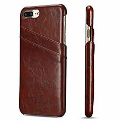 Недорогие Кейсы для iPhone 7 Plus-Кейс для Назначение Apple iPhone 8 Plus / iPhone 7 Plus Бумажник для карт Кейс на заднюю панель Однотонный Твердый Настоящая кожа для iPhone 8 Pluss / iPhone 7 Plus