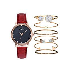 お買い得  レディース腕時計-女性用 リストウォッチ クォーツ クロノグラフ付き キュート 光る レザー バンド ハンズ ぜいたく バングル ブラック / 白 / ブルー - パープル レッド ブルー 1年間 電池寿命