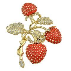 abordables Broches-Mujer Zirconia Cúbica Tropical Broche - Forma de Hoja, Fresa Elegante, Básico Broche Rojo Para Regalo / Diario