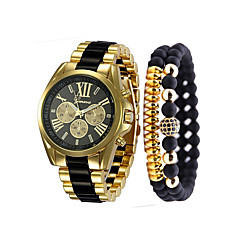 お買い得  メンズ腕時計-男性用 リストウォッチ クォーツ クロノグラフ付き カジュアルウォッチ クール ステンレス バンド ハンズ ぜいたく バングル ブラック / 白 / ブルー - ブラック ベージュ ブルー 1年間 電池寿命