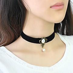 お買い得  ネックレス-女性用 クラシック チョーカー  -  人造真珠 レディース, ドールロリータ ブラック 30+8 cm ネックレス ジュエリー 1個 用途 日常, 祭り