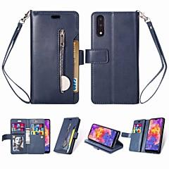 お買い得  Huawei Pシリーズケース/ カバー-ケース 用途 Huawei P20 スタンド付き / フリップ / 磁石バックル フルボディーケース ソリッド ハード PUレザー のために Huawei P20