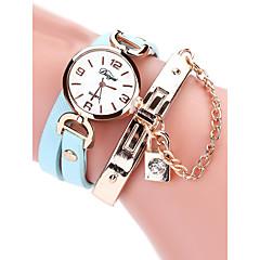 お買い得  レディース腕時計-女性用 リストウォッチ クォーツ 30 m クリエイティブ カジュアルウォッチ PU バンド ハンズ ヴィンテージ ファッション ブラック / 白 / レッド - フクシャ レッド ライトブルー