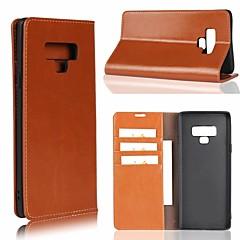 Недорогие Чехлы и кейсы для Galaxy Note 5-Кейс для Назначение SSamsung Galaxy Note 9 / Note 8 Бумажник для карт / со стендом Чехол Однотонный Твердый Настоящая кожа для Note 9 / Note 8 / Note 5