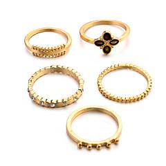 preiswerte Ringe-Damen Retro Knöchel-Ring Ring-Set Multi-Finger-Ring - Harz, Diamantimitate Clover Retro, Punk, Boho 8 Gold / Silber Für Geschenk Alltag Strasse / 5 Stück