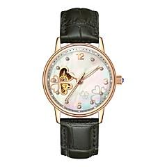 preiswerte Damenuhren-Angela Bos Armbanduhr Sender Wasserdicht, Transparentes Ziffernblatt, Armbanduhren für den Alltag Rot / Rosa / Rotgold / Edelstahl / Automatikaufzug / Imitation Diamant