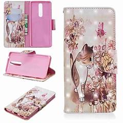 Недорогие Чехлы и кейсы для Nokia-Кейс для Назначение Nokia Nokia 5.1 / Nokia 3.1 Кошелек / Бумажник для карт / со стендом Чехол Кот Твердый Кожа PU для Nokia 5.1 / Nokia 3.1 / Nokia 2.1