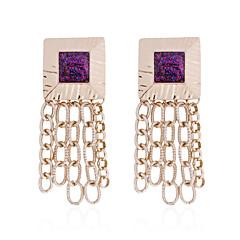 preiswerte Ohrringe-Damen Quaste Ohrringe baumeln - vergoldet Quaste, Boho Purpur / Grün / Wein Für Strasse