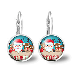 preiswerte Ohrringe-Damen Kristall Retro Klips Ohrring - Santa Anzüge, Hirsch Klassisch, Zeichentrick, Modisch Silber Für Weihnachten Geschenk