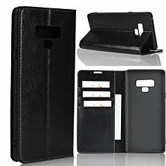 Недорогие Чехлы и кейсы для Galaxy Note 5-Кейс для Назначение SSamsung Galaxy Note 9 / Note 8 Кошелек / Защита от удара / со стендом Чехол Однотонный Твердый Настоящая кожа для Note 9 / Note 8 / Note 5