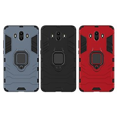 Недорогие Чехлы и кейсы для Huawei Mate-Кейс для Назначение Huawei Mate 10 Защита от удара / Кольца-держатели Кейс на заднюю панель Однотонный / броня Твердый ПК для Mate 10