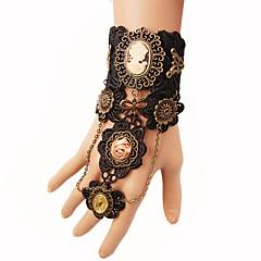 preiswerte Armbänder-Damen Geflochten Ring-Armbänder - Rosen, Blume Erklärung, Steampunk Armbänder Schwarz Für Party Maskerade