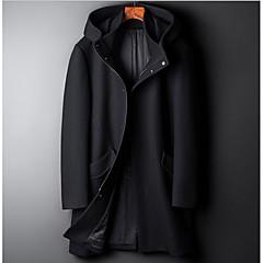 hesapli Men's Winter Coats-Erkek Günlük Sokak Şıklığı Normal Kaban, Solid Kapşonlu Uzun Kollu Polyester Yonca / Siyah XL / XXL / XXXL