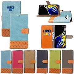 Недорогие Чехлы и кейсы для Galaxy Note 5-Кейс для Назначение SSamsung Galaxy Note 9 / Note 8 Бумажник для карт / Защита от удара / со стендом Чехол Однотонный / Геометрический рисунок Твердый текстильный для Note 9 / Note 8 / Note 5