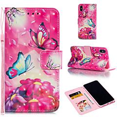 Недорогие Кейсы для iPhone 7 Plus-Кейс для Назначение Apple iPhone XR / iPhone XS Max Кошелек / Бумажник для карт / со стендом Чехол Бабочка / Цветы Твердый Кожа PU для iPhone XS / iPhone XR / iPhone XS Max