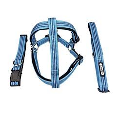 お買い得  犬用首輪/リード/ハーネス-犬用 カラー / ハーネス / リード 反射 / 調整可能 / 引き込み式 / 耐久性 クラシック / ブリティッシュ ナイロン / メタル ブルー