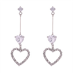 preiswerte Ohrringe-Damen Weiß Weiß Kubikzirkonia Hohl Tropfen-Ohrringe - Herz Süß, Modisch, Elegant Silber Für Party / Abend Verabredung