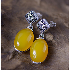 preiswerte Ohrringe-Damen Gelb Topas Vintage Stil Tropfen-Ohrringe - S925 Sterling Silber Blume damas Stilvoll Retro Elegant Schmuck Gelb Für Geschenk Formal 1 Paar