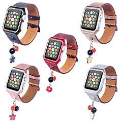 お買い得  腕時計用アクセサリー-本革 時計バンド ストラップ のために Apple Watch Series 4/3/2/1 ブラック / シルバー / レッド 23センチメートル / 9インチ 2.1cm / 0.83 Inch