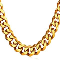 Недорогие Ожерелья-U7 1шт Нержавеющая сталь на открытом воздухе за Золотой Черный Серебряный / Муж. / Ожерелья-цепочки