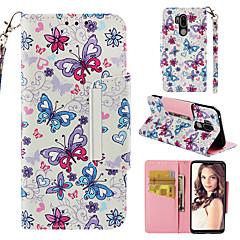 Недорогие Чехлы и кейсы для LG-Кейс для Назначение LG G7 Кошелек / Бумажник для карт / Флип Чехол Бабочка Твердый Кожа PU для LG G7