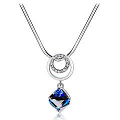 preiswerte Halsketten-Damen Blau Kristall Klassisch Anhängerketten - Diamantimitate, Österreichisches Kristall Romantisch, Modisch, Elegant lieblich Blau 40 cm Modische Halsketten Schmuck 1pc Für Party / Abend, Alltag