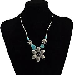 abordables Collares-Mujer Turquesa Retro Collares con colgantes - Flor Vintage Plata 43+5 cm Gargantillas Joyas 1pc Para Diario
