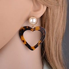 abordables Pendientes-Mujer Clásico Pendientes colgantes - Perla Artificial Corazón Clásico, De moda Gris / Marrón / Rojo Para Festivos Cumpleaños