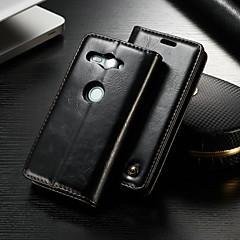 Недорогие Чехлы и кейсы для Sony-CaseMe Кейс для Назначение Sony Xperia XZ2 Compact Кошелек / Бумажник для карт / со стендом Чехол Однотонный Твердый Кожа PU для Xperia XZ2 Compact