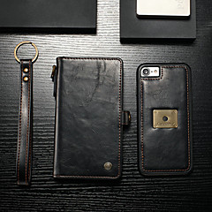 Недорогие Кейсы для iPhone 7-CaseMe Кейс для Назначение Apple iPhone 8 / iPhone 7 Кошелек / Бумажник для карт / Флип Чехол Однотонный Твердый Кожа PU для iPhone 8 / iPhone 7