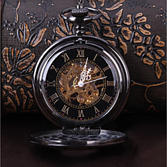 お買い得  メンズ腕時計-男性用 懐中時計 手巻き式 ブラック カジュアルウォッチ クール ハンズ ヴィンテージ カジュアル - ブラック