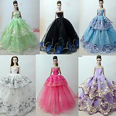 abordables Ropa para Barbies-Princesa / Elegante / Corte Cenicienta Vestidos 6 pcs por Muñeca Barbie  Organdí Ropa para Muñecas por Chica de muñeca de juguete