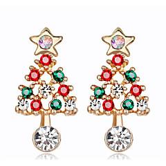 abordables Pendientes-Mujer Zirconia Cúbica Clásico Pendients de aro - Árbol de Navidad Moda Oro / Plateado Para Navidad Fiesta / Noche