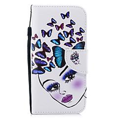 Недорогие Кейсы для iPhone-Кейс для Назначение Apple iPhone XR Кошелек / Бумажник для карт / Защита от удара Чехол Бабочка / Соблазнительная девушка Твердый Кожа PU для iPhone XR