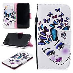 Недорогие Кейсы для iPhone-Кейс для Назначение Apple iPhone XR Кошелек / Бумажник для карт / Защита от удара Чехол Кот / Бабочка Твердый Кожа PU для iPhone XR