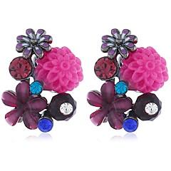 preiswerte Ohrringe-Damen Schick Ohrstecker - Harz vergoldet Blume Boho Mehrfarbig Schmuck Purpur / Rot / Grün Für Hochzeit Ausgehen Bikini 1 Paar