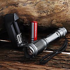 preiswerte Taschenlampen-UltraFire LED Taschenlampen LED LED 1 Sender 2000 lm 5 Beleuchtungsmodus inklusive Batterie und Ladegerät Zoomable-, Wasserfest, einstellbarer Fokus Camping / Wandern / Erkundungen, Für den täglichen