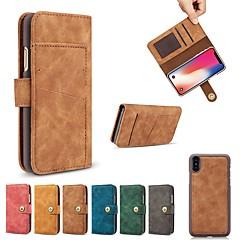 Недорогие Кейсы для iPhone 6-Кейс для Назначение Apple iPhone XR / iPhone XS Max Кошелек / Бумажник для карт / Защита от удара Чехол Однотонный Твердый Кожа PU для iPhone XS / iPhone XR / iPhone XS Max