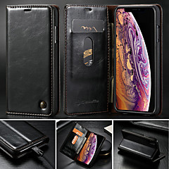 Недорогие Кейсы для iPhone 5-CaseMe Кейс для Назначение Apple iPhone XS Max / iPhone 7 Plus Кошелек / Бумажник для карт / со стендом Чехол Однотонный Твердый Кожа PU для iPhone XS / iPhone XR / iPhone XS Max