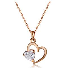 preiswerte Halsketten-Damen Klar Kristall Transparent Anhängerketten - Rose Gold überzogen Herz Romantisch, Modisch, Elegant lieblich Rotgold 43 cm Modische Halsketten Schmuck 1pc Für Alltag, Formal