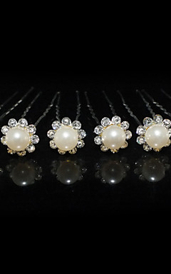 cheap -Beautiful Six Pieces Alloy Wedding Bridal Hairpins With Rhinestones And Imitation Pearls